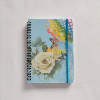 Hot Selling Colorful Printing Plastic Cover Spiral Notebook with Elastiv Band SN-21
